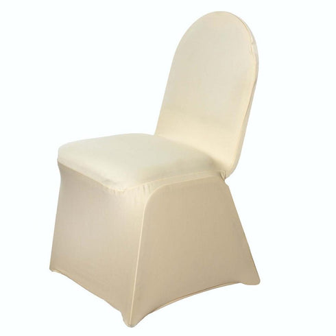160GSM Champagne Stretch Spandex Banquet Chair Cover With Foot Pockets