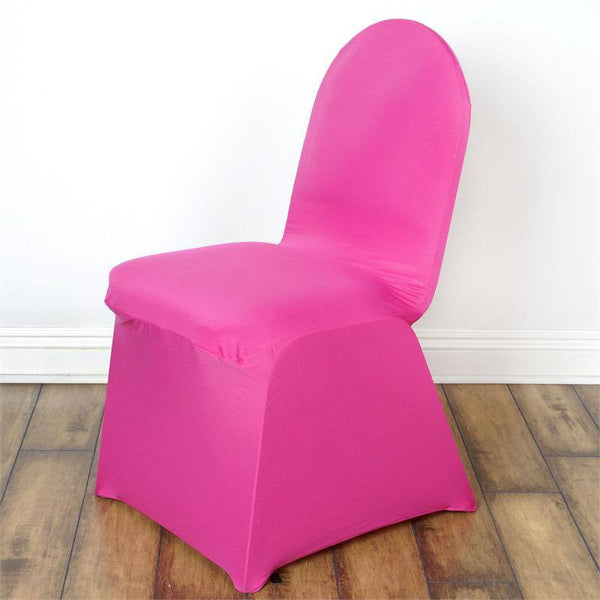160GSM Fushia Stretch Spandex Banquet Chair Cover With Foot Pockets