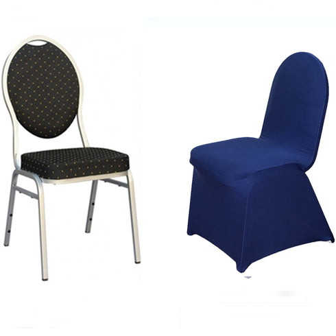 Navy Blue Spandex Stretch Banquet Chair Cover