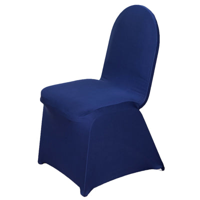160GSM Navy Blue Stretch Spandex Banquet Chair Cover With Foot Pockets