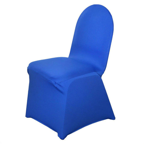 160GSM Royal Blue Stretch Spandex Banquet Chair Cover With Foot Pockets