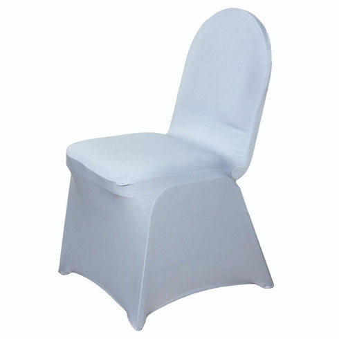 160GSM Silver Stretch Spandex Banquet Chair Cover With Foot Pockets