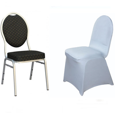 Silver Spandex Stretch Banquet Chair Cover