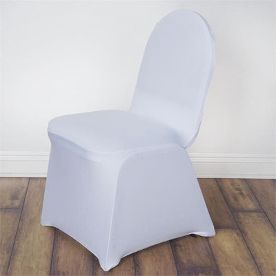 Wondrous 160Gsm White Stretch Spandex Banquet Chair Cover With Foot Pockets Inzonedesignstudio Interior Chair Design Inzonedesignstudiocom