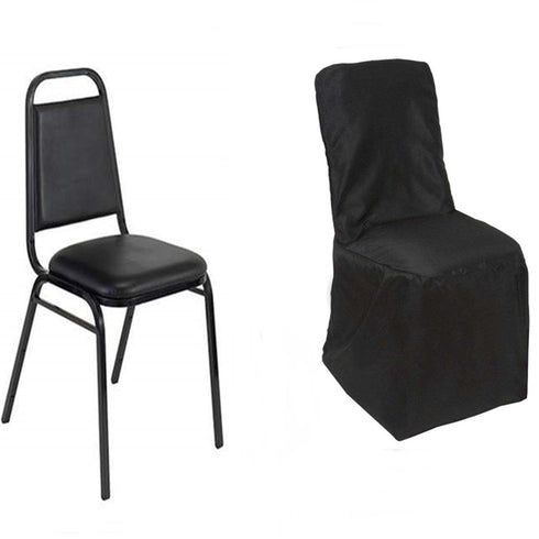 Black Polyester Square Top Banquet Chair Covers