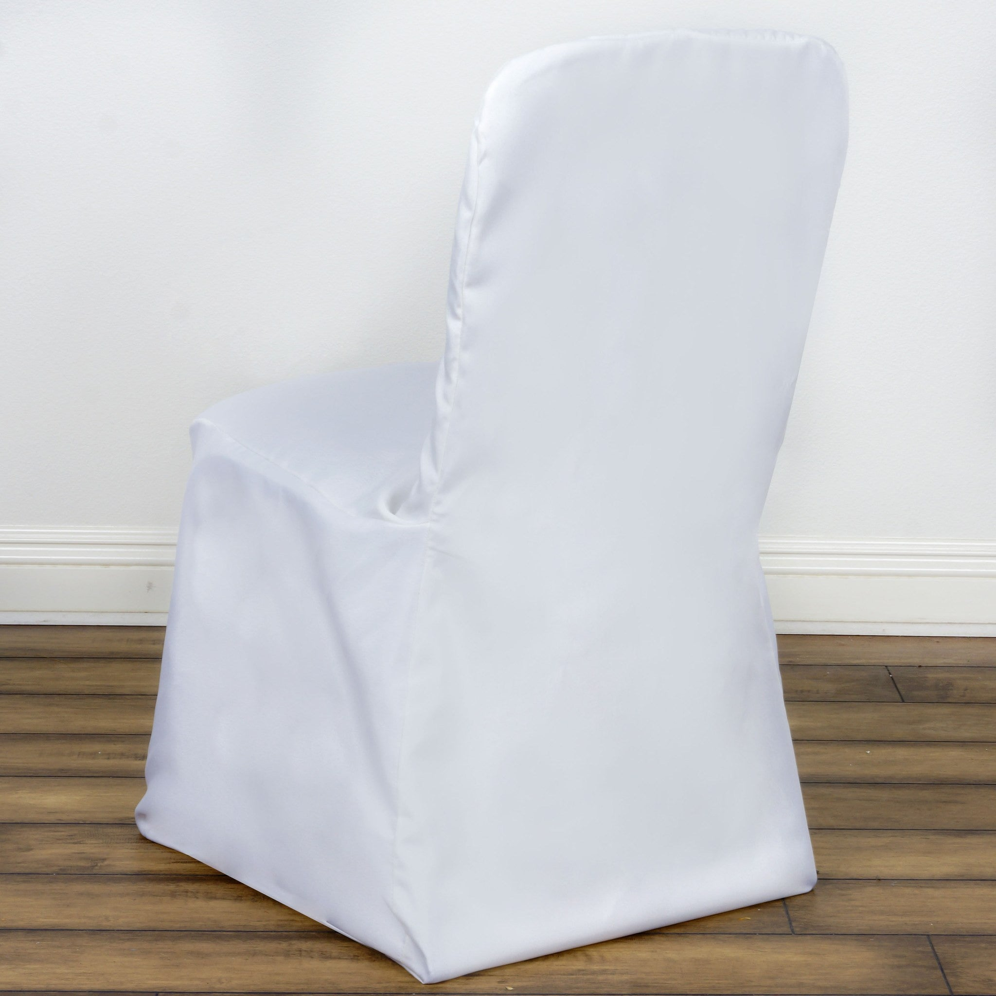 Polyester Square Top Banquet Chair Covers White Efavormart