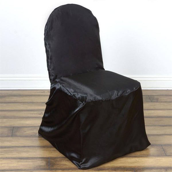 Black Satin Banquet Chair Covers