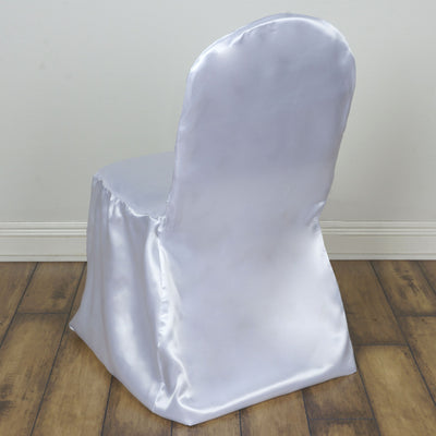 White Satin Banquet Chair Covers