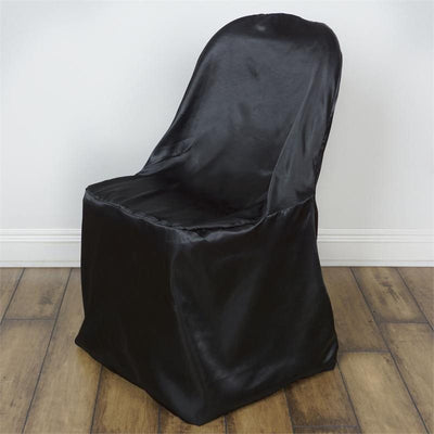 Black Satin Folding Chair Cover