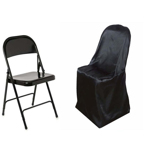 Black Satin Folding Chair Covers