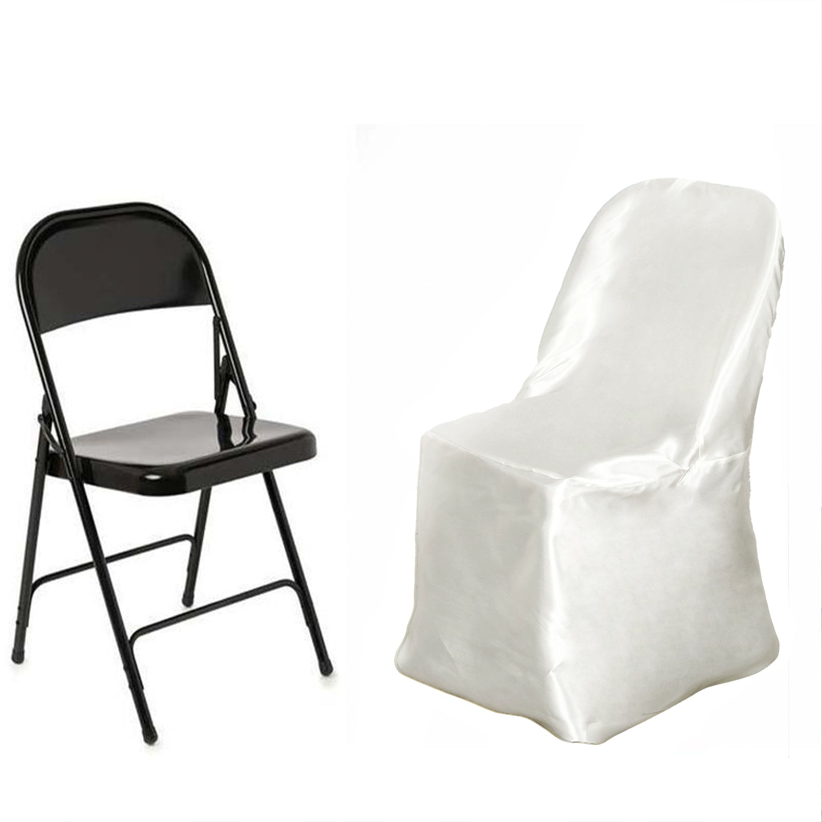 Satin Folding Chair Covers Ivory Efavormart