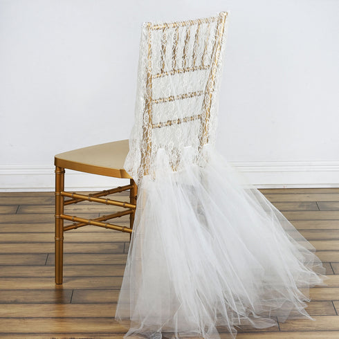 Bridal Party Lace And Tulle Tutu Chair Covers - Ivory