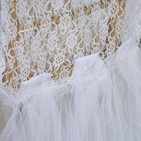 White Bridal Wedding Party Lace And Tulle Tutu Chair Covers