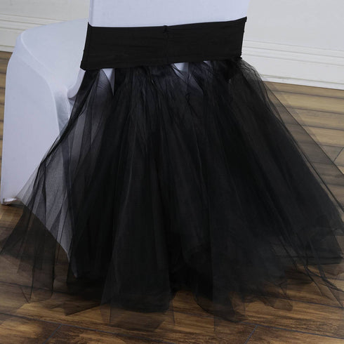 Black Bridal Wedding Party Spandex Tulle Tutu Chair Skirts