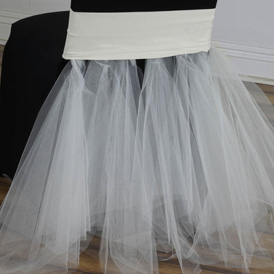 Ivory Bridal Wedding Party Spandex Tulle Tutu Chair Skirts
