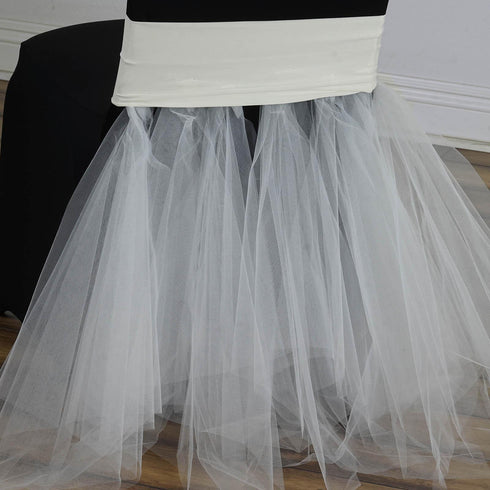 Ivory Bridal Spandex Tulle Tutu Chair Skirts