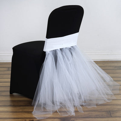 White Bridal Wedding Party Spandex Tulle Tutu Chair Skirts