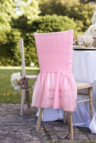 Sheer Tulle Tutu Spandex Chair Skirt Covers - Pink