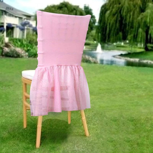 Sheer Tulle Tutu Spandex Chair Skirt Covers Pink