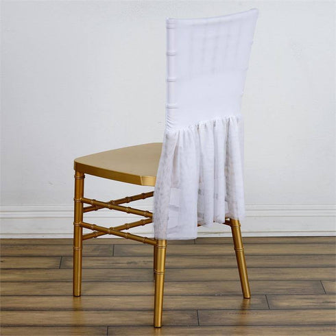 Sheer Tulle Tutu Spandex Chair Skirt Covers - White