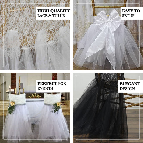 Ivory Spandex Tulle Tutu Chair Skirts