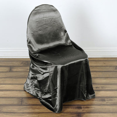 Charcoal Grey Universal Satin Chair Covers