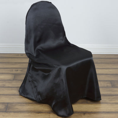 Black Universal Satin Chair Covers