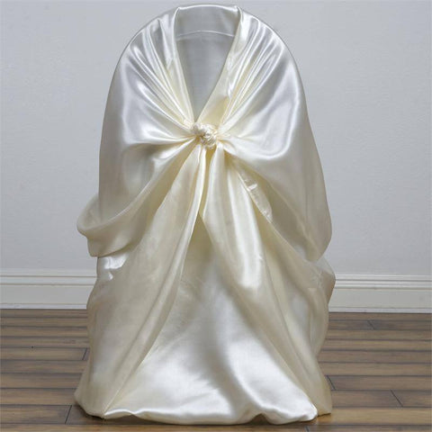 Ivory Universal Satin Chair Covers