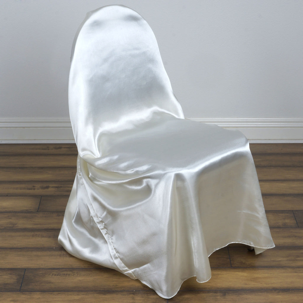 Ivory Universal Satin Chair Covers Efavormart