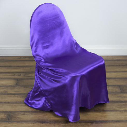 Purple Universal Satin Chair Covers