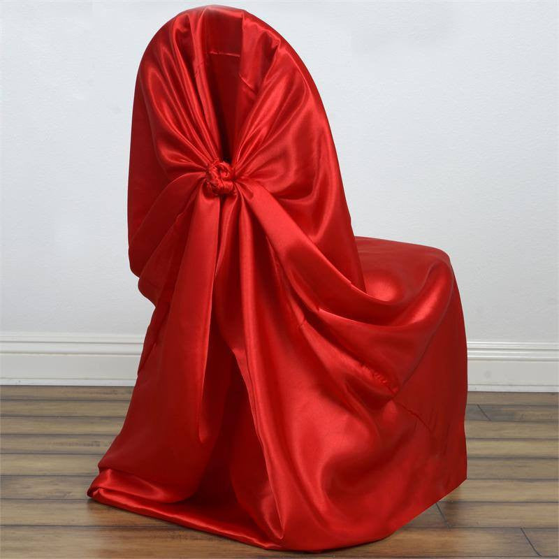 Red Universal Satin Chair Covers ... & Universal Satin Chair Cover Decor - Red | eFavorMart