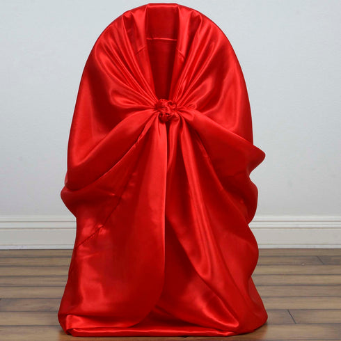 Red Universal Satin Chair Covers