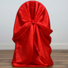 Red Universal Satin Chair Covers[overlay]Fits over Banquet, Folding and Chiavari Style Chairs