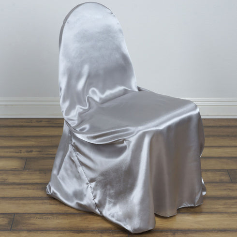 Silver Universal Satin Chair Covers