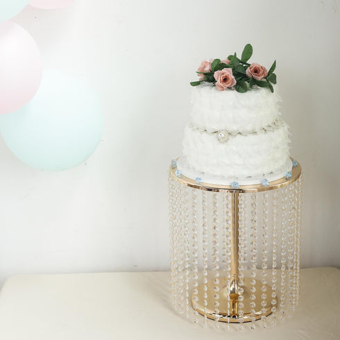 "16"" Tall Gold Cake Stand, Cupcake Stand With 35 Acrylic Crystal Chains"