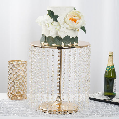 "16"" Tall - Gold Metal Cake Stand, Cupcake Display Stand with 35 Acrylic Crystal Chains"