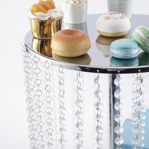 "16"" Tall - Silver Metal Cake Stand, Cupcake Display Stand with 35 Acrylic Crystal Chains"