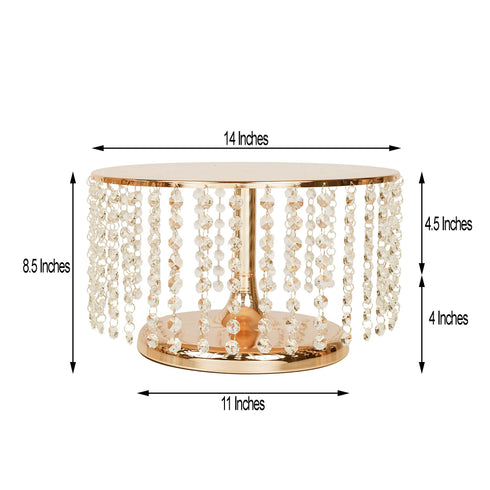 "8"" Tall Gold Cake Stand, Cupcake Stand With 36 Acrylic Crystal Chains"