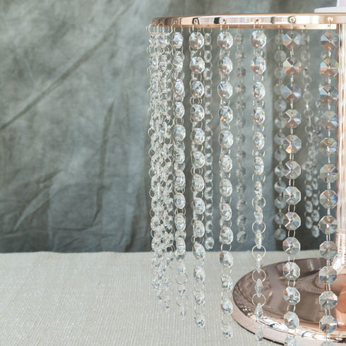"12"" Tall Blush & Rose Gold Cake Stand, Cupcake Stand With 42 Acrylic Crystal Chains"