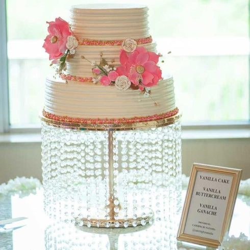 "12"" Tall Gold Cake Stand, Cupcake Stand With 42 Acrylic Crystal Chains"