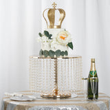 "12"" Tall Gold Eloquent Crystal Pendants Metal Chandelier Wedding Cake Stand"