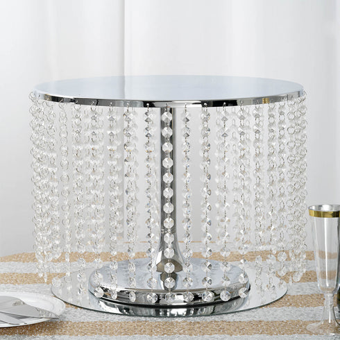 "12"" Tall Silver Cake Stand, Cupcake Stand With 42 Acrylic Crystal Chains"