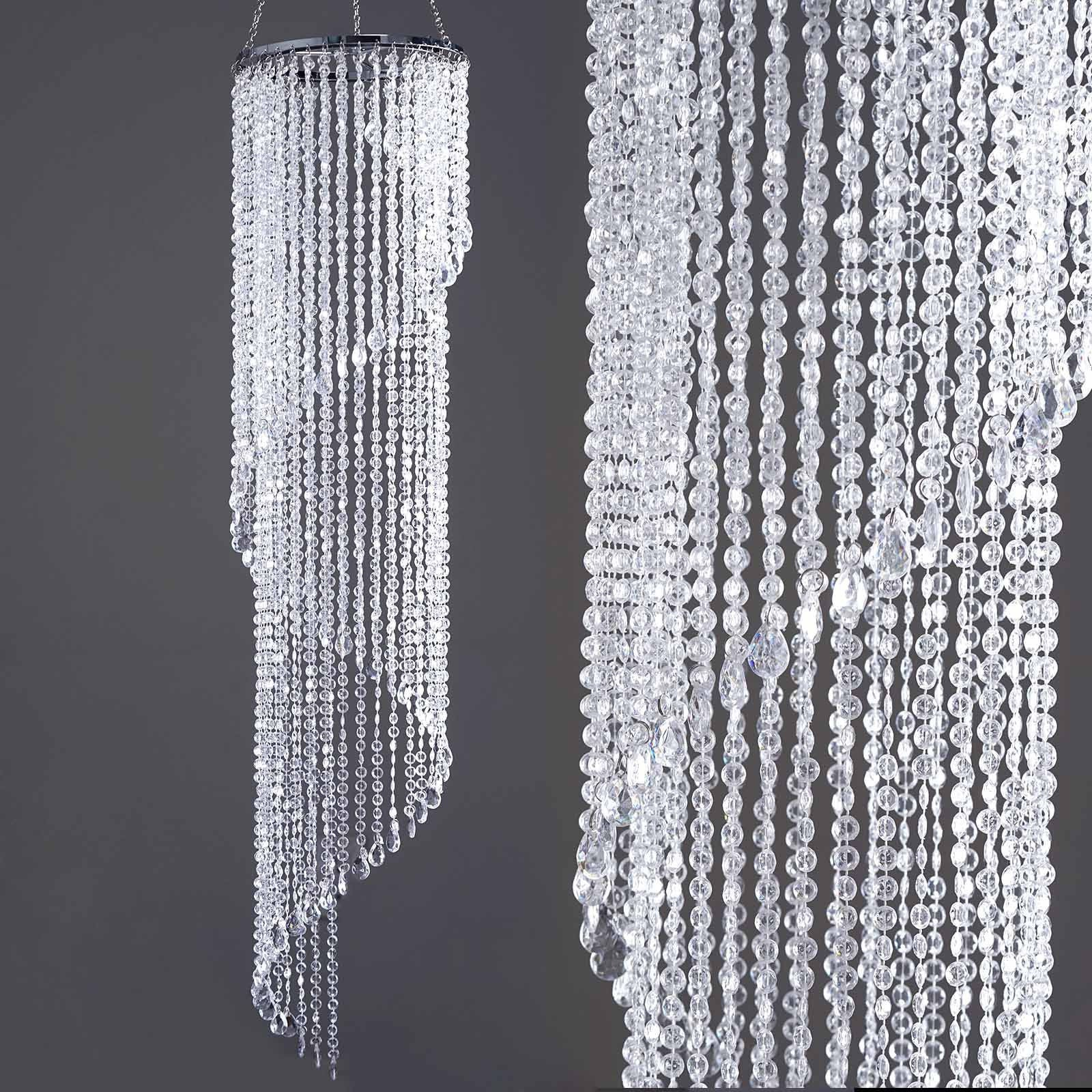 72 acrylic diamond spiral chandelier free stand poles efavormart majestic hanging acrylic spiral diamond chandelier 13inch diameter x 72inch drop aloadofball Image collections