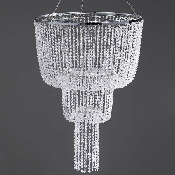 26 Acrylic Diamond 3 Tier Chandelier Centerpiece Free Stand Poles