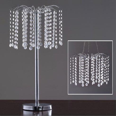 "24"" Silver Acrylic 300 Crystal Pendant Chain Chandelier Wedding Centerpiece Stand"