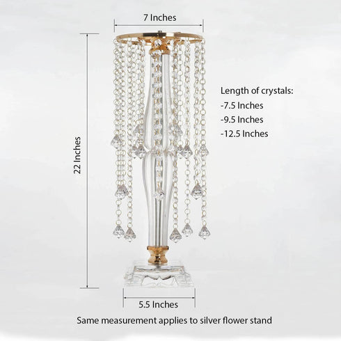 "22"" Tall Flower Stand Crystal Pendants Chandelier Centerpiece - Gold"