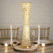 "24"" Gold Hurricane Crystal Beaded Floral Vase"