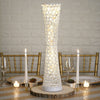 "24"" White Hurricane Crystal Beaded Floral Vase"