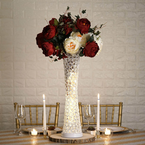 2 Ft White Hurricane Crystal Beaded Floral Vase