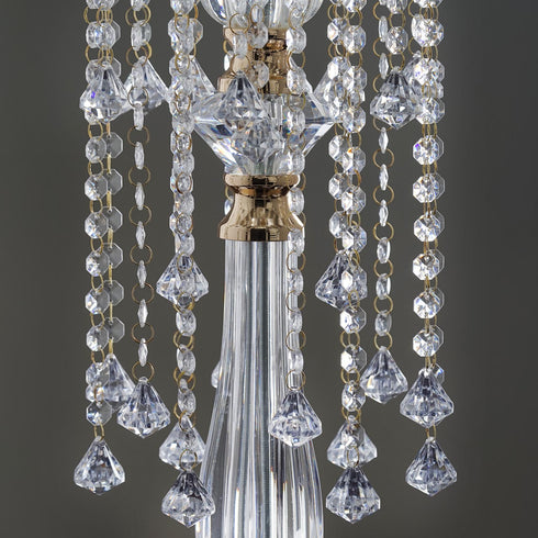 2.5 Ft Tall Gold Hanging Crystal Teardrops Chandelier Stand